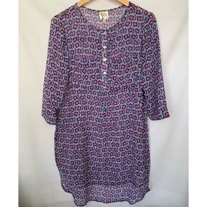Anthropologie Fig and Flower Sheer Tunic Top